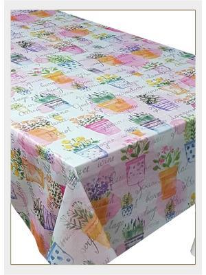 Скатерть с фотопринтом Цветочный горшки Ambesonne. Цвет: белый, голубой, желтый, зеленый, оранжевый, розовый, фиолетовый