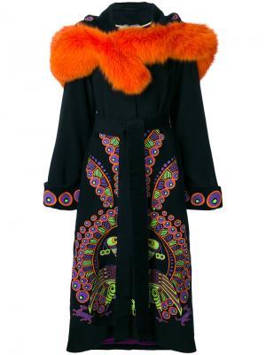 Пальто с вышивкой и капюшоном Peacock Yuliya Magdych. Цвет: чёрный