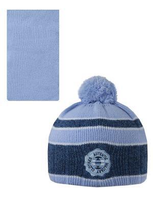 Шапка, шарф Pro-han. Цвет: светло-голубой, синий