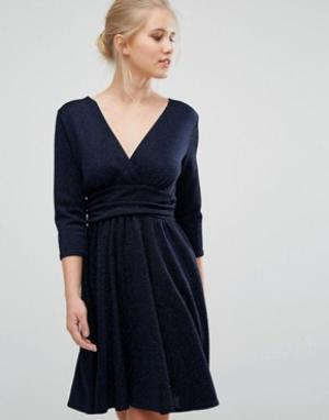 Closet London Фактурное платье с шевронной отделкой и рукавами 3/4. Цвет: темно-синий