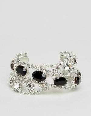 Krystal Эффектный браслет с кристаллами Swarovski. Цвет: серебряный