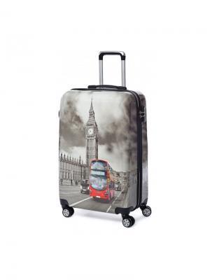 Чемодан на колесах Лондон, 42 л, с телескопической ручкой, размер S Sun Voyage. Цвет: антрацитовый, красный