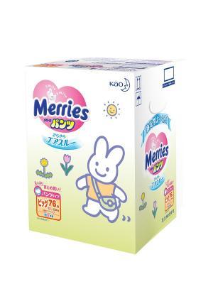 Трусики-подгузники для детей большие 12-22кг, 76шт MERRIES. Цвет: белый