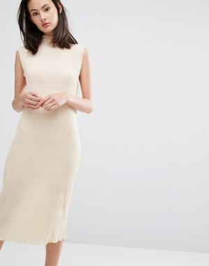 Ganni Плиссированное платье миди цвета слоновой кости Hall. Цвет: кремовый
