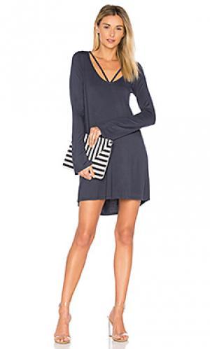 Платье с вырезами на линии шеи bailor Michael Lauren. Цвет: синий