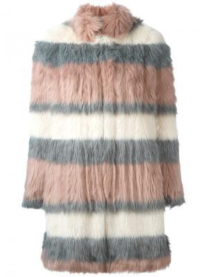 Меховое пальто в полоску Giamba. Цвет: розовый и фиолетовый