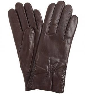 Коричневые кожаные перчатки Bartoc. Цвет: коричневый