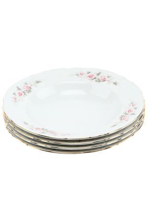 Набор глубоких тарелок, 6 шт Bohemia. Цвет: белый, розовый, золотой