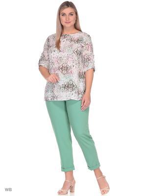 Блузка Falinda. Цвет: хаки, белый, бледно-розовый