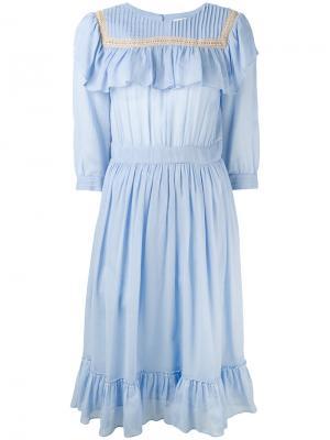 Ruffled bib dress Masscob. Цвет: синий