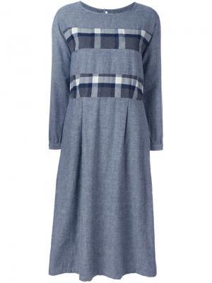 Платье с полосками в клетку Blue Japan. Цвет: синий