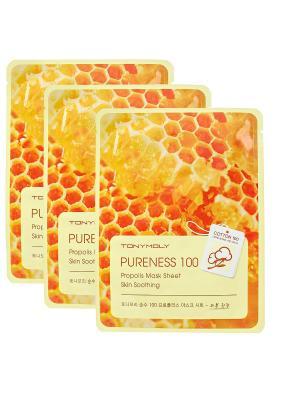 Набор тканевых масок PURENESS с экстрактом прополиса, 3*21мл Tony Moly. Цвет: белый