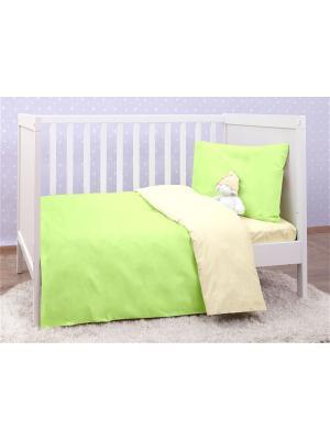Постельное белье в кроватку (трикотаж) MIRAROSSI. Цвет: салатовый, бежевый