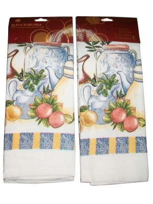 Комплект полотенец ZLATA KORUNKA. Цвет: белый, голубой