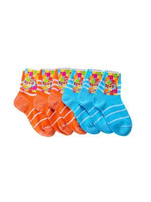 Носки ЕСКО. Цвет: бирюзовый, белый, оранжевый
