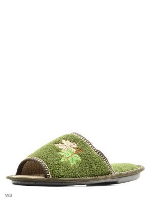 Тапочки PANTOLETTI. Цвет: зеленый