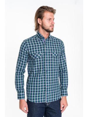 Рубашка Westrenger. Цвет: темно-синий, зеленый