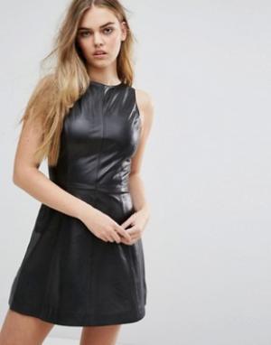 Muubaa Кожаное платье-трапеция Agden. Цвет: черный