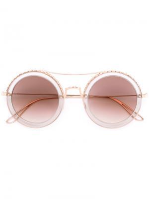 Солнцезащитные очки круглой формы Elie Saab. Цвет: металлический