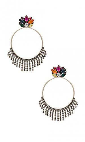Серьги-кольца с кристаллами Anton Heunis. Цвет: металлический серебряный