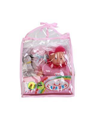 Пупс Карапуз 23 см, в корзинке сумке, озвученный, говорит 7 фраз, с аксессуарами.. Цвет: розовый,красный