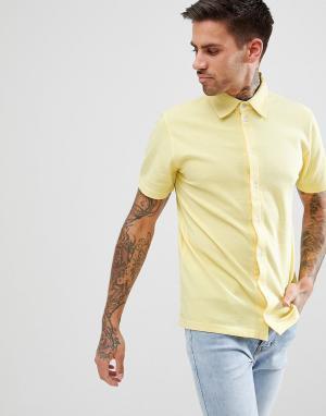 BoohooMAN Желтая рубашка классического кроя из пике. Цвет: желтый