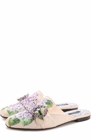 Парчовые сабо с цветочным принтом Dolce & Gabbana. Цвет: кремовый