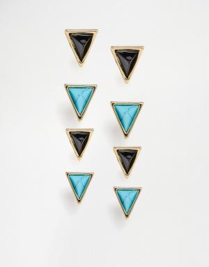 House of Harlow Комплект треугольных серег с бирюзой. Цвет: золотой