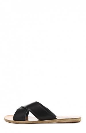 Кожаные шлепанцы Thais Ancient Greek Sandals. Цвет: темно-синий