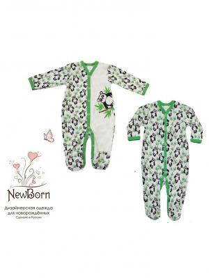 Комплект из двух комбинезонов NewBorn. Цвет: зеленый, молочный