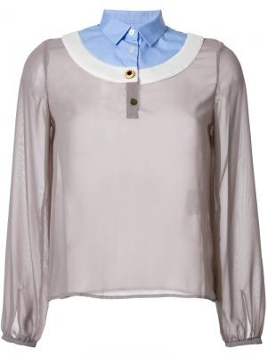 Блузка с контрастным воротником Kolor. Цвет: серый