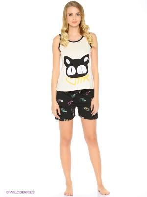 Пижама Cat & Fish (черно-белая) Kawaii Factory. Цвет: белый, черный