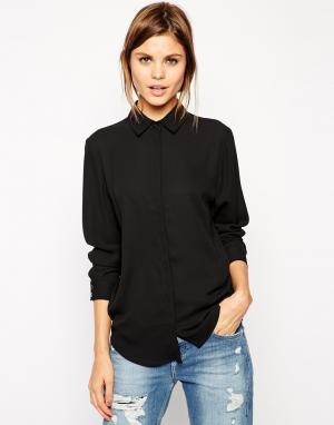 ASOS Мягкая рубашка DESIGN. Цвет: черный