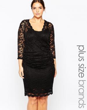 Carmakoma Кружевное платье‑футляр премиум‑класса. Цвет: черный