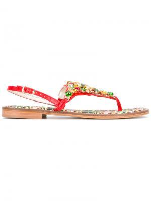 Декорированные сандалии Emanuela Caruso. Цвет: многоцветный