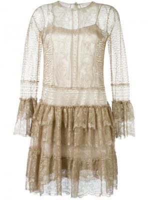 Кружевное платье Alberta Ferretti. Цвет: металлический