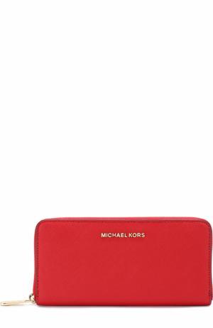 Кожаный кошелек с логотипом бренда MICHAEL Kors. Цвет: красный