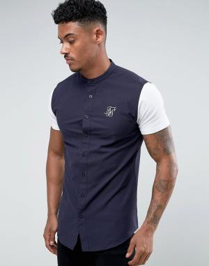 SikSilk Темно-синяя обтягивающая рубашка с трикотажными рукавами. Цвет: темно-синий