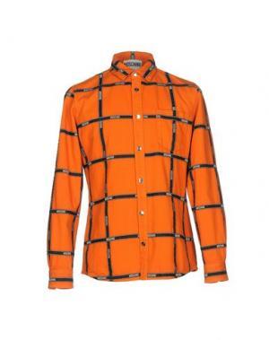 Джинсовая рубашка MOSCHINO COUTURE. Цвет: оранжевый