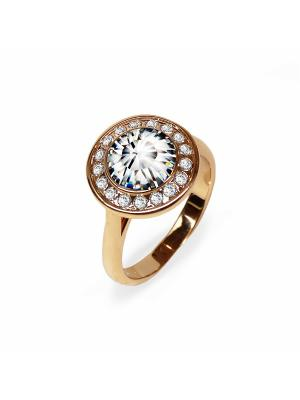 Кольцо Isabelle с кристаллами Swarovski в золоте Mademoiselle Jolie Paris. Цвет: светло-бежевый, бежевый, белый, желтый, золотистый, кремовый, персиковый, прозрачный, светло-желтый, темно-бежевый