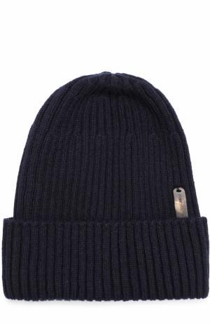 Кашемировая шапка фактурной вязки Cortigiani. Цвет: темно-синий