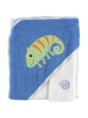 Полотенце с капюшоном и салфетка для купания, 1 шт. Luvable Friends. Цвет: голубой