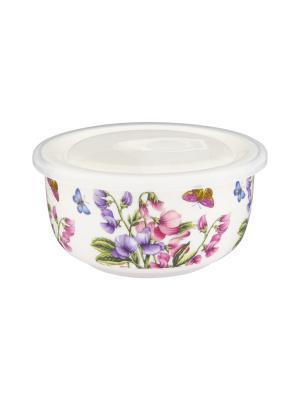 Салатник с пластиковой крышкой Душистый горошек Elan Gallery. Цвет: белый, сиреневый, розовый