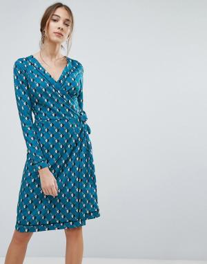 Uttam Boutique Платье с запахом и цветочным принтом. Цвет: зеленый
