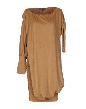 Короткое платье MARIAGRAZIA PANIZZI. Цвет: верблюжий
