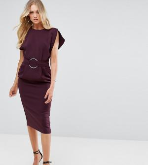 ASOS Tall Платье миди с разрезами на рукавах и кольцом талии. Цвет: черный