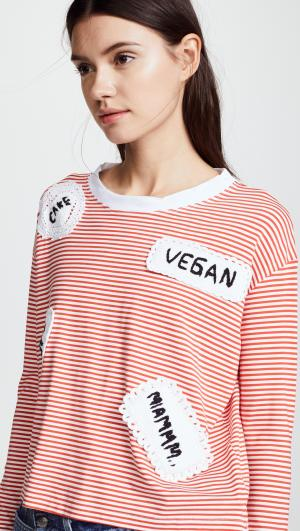 Long Sleeve Striped Tee with Patches Michaela Buerger