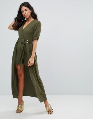 Forever Unique Платье макси с запахом и подкладкой мини. Цвет: зеленый