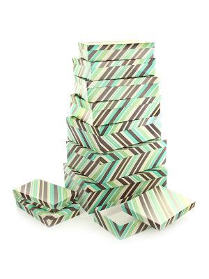 Набор из 10 картонных коробок 23*13*3-36,5*26,5*12см, Полосатое настроение VELD-CO. Цвет: светло-зеленый, салатовый, терракотовый
