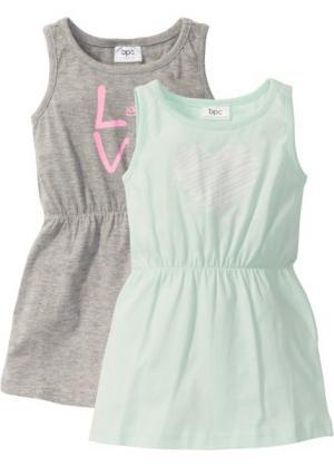 Трикотажное платье (2 шт.) (светло-серый меланж + мятный с принтом) bonprix. Цвет: светло-серый меланж + мятный с принтом